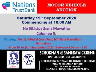 NTB VEHICLE AUCTION SATURDAY 19TH SEPTEMBER 2020 (ISIPATHANA)